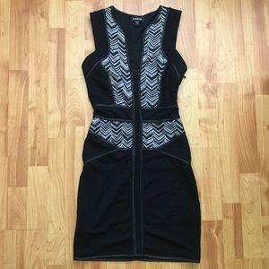 Bebe Black & White Print Bodycon Dress